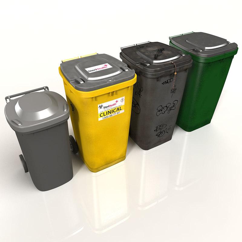 3d kit wheelie bins model