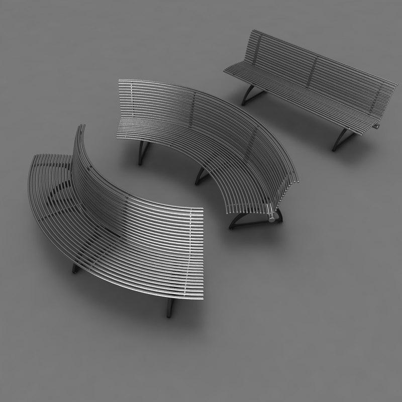 park bench metal 3d max