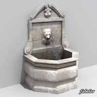3d model stone fountain water