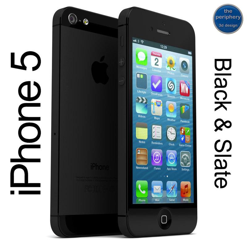 apple iphone 5 black 3d 3ds