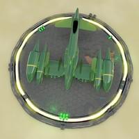 retro spaceship 3d model