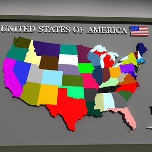 3d model geopolitical america globe