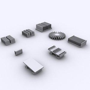 8 heatsinks computers 3ds