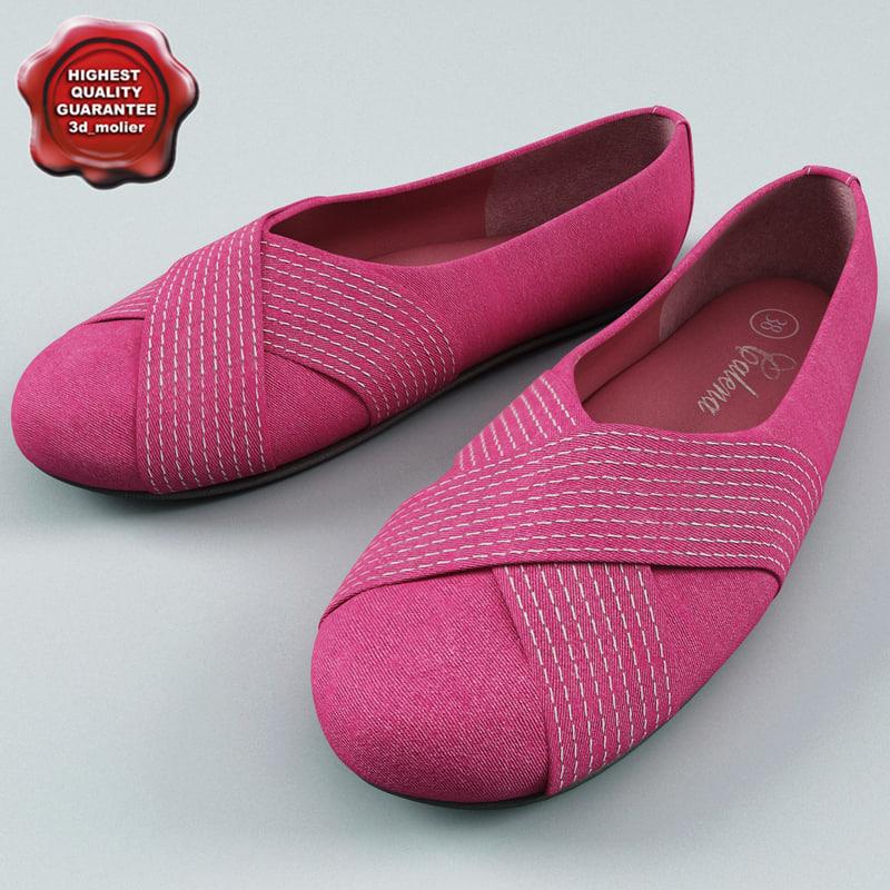 pink ballet women shoes 3d obj