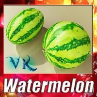 3d melon water watermelon model
