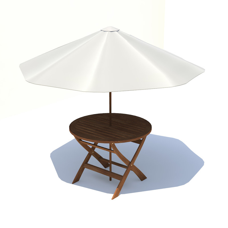 garden table umbrella 3d model