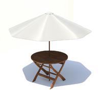 garden table umbrella 3d model