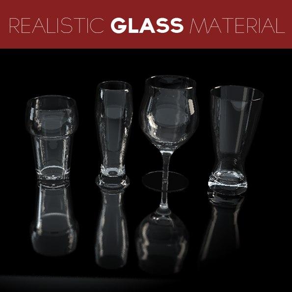 4 beer glasses 3d model