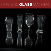 4 beer glasses 3d model