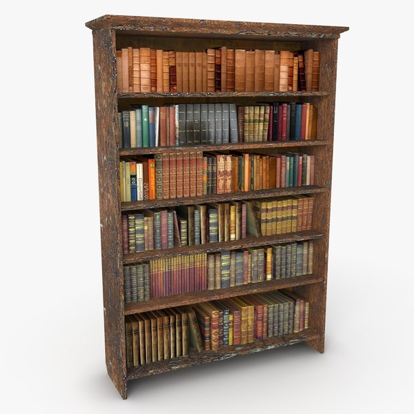 antique bookshelf 3d 3ds