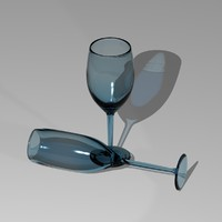 3d model of wine glass champagne