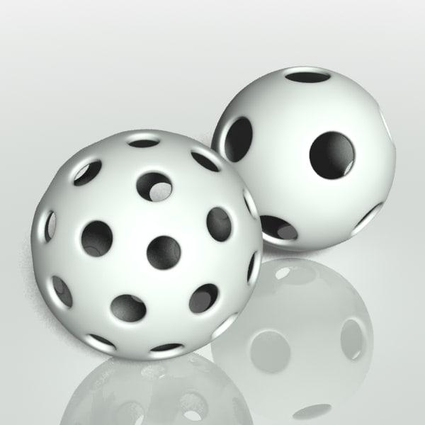 3d model ball whiffle