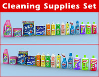 cleaning supplies set 3d max
