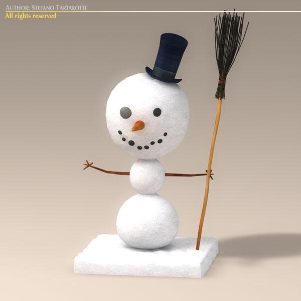 3ds max cartoon snowman snow