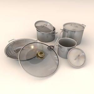 3d pot saucepans model