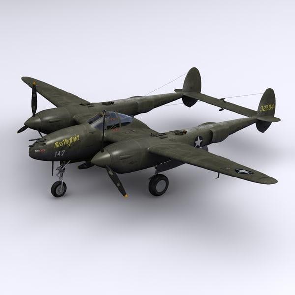 3d model p-38 lightning fighter 1943
