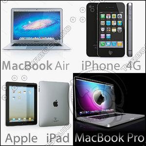macbook ibook iphone 3d model