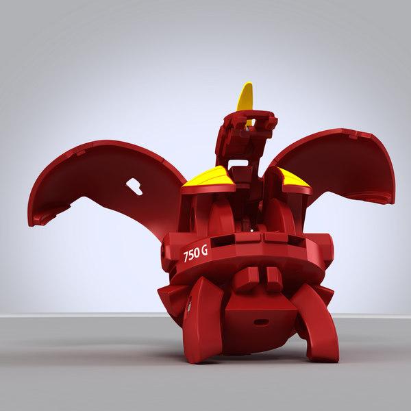3d model of bakugan red dragon