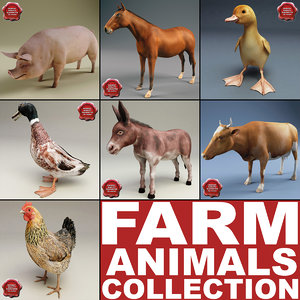 3d farm animals v3 model