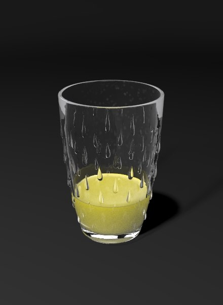 3d glass orange juice model