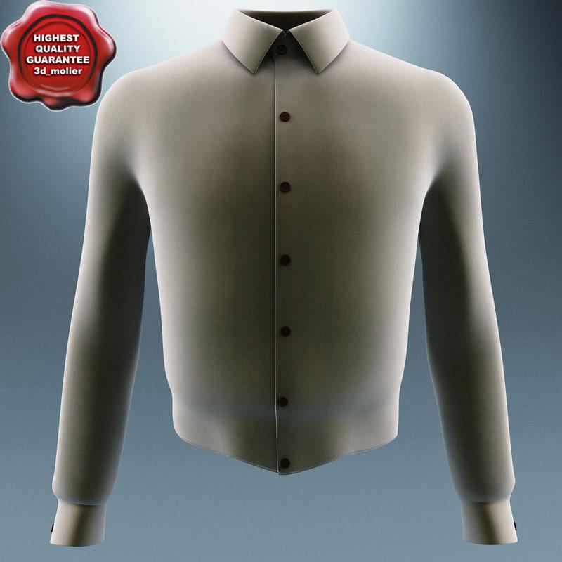 3d model men long sleeve shirt