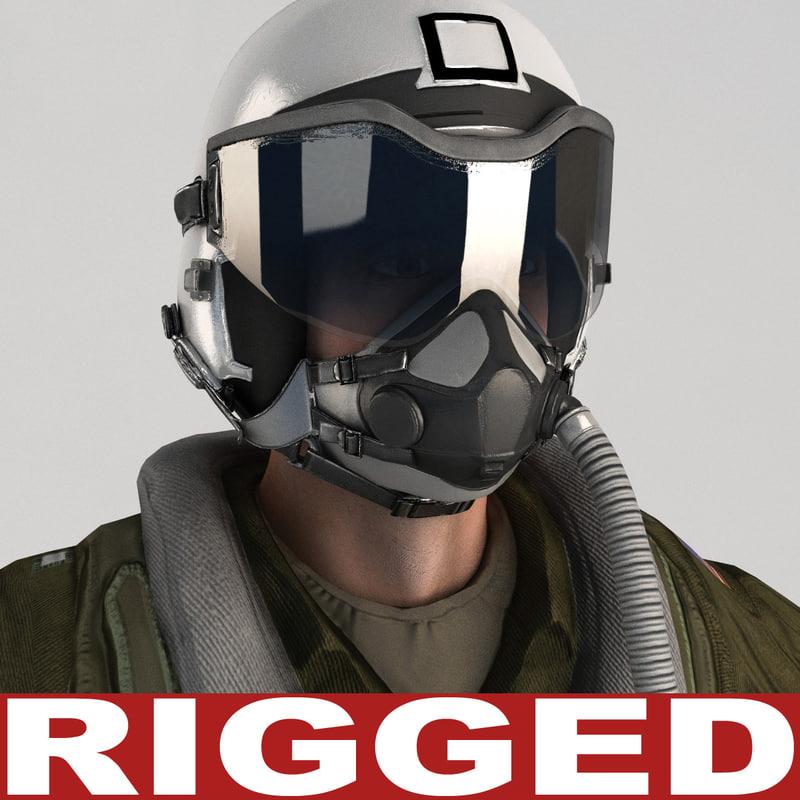 3d military pilot v4 rigged