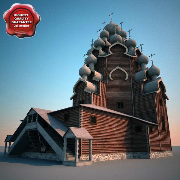 russian wooden church kizhi 3d model