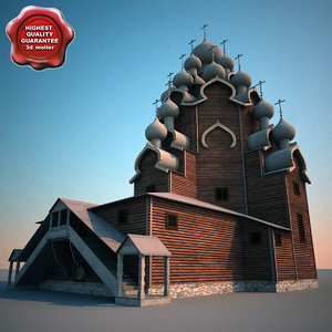 russian wooden church kizhi 3d model