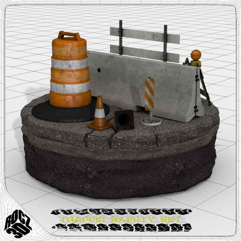 3d model set traffic construction safety