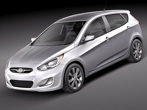 hyundai accent 2012 hatchback 3d model