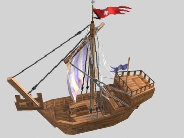 3d model of small tradeship
