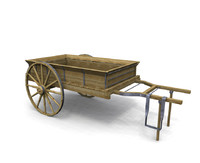 old west cart wagon 3d model