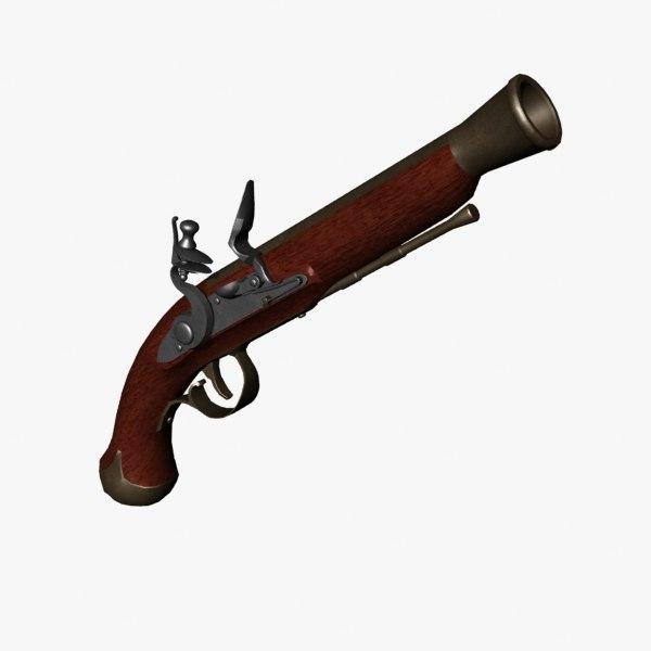 3d model blunderbuss pistol