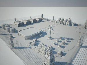 futuristic sci fi military base 3d model