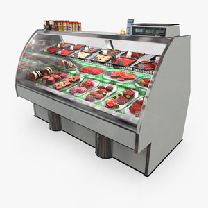 meat counter grocery - 3d model