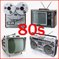Collection of retro electronics 80s Akai SHARP Sony Trinitron Singer