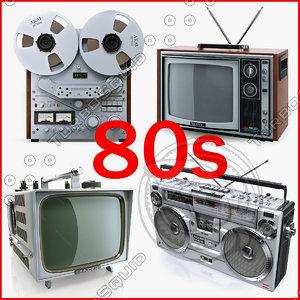 3d model retro electronics 80s boombox