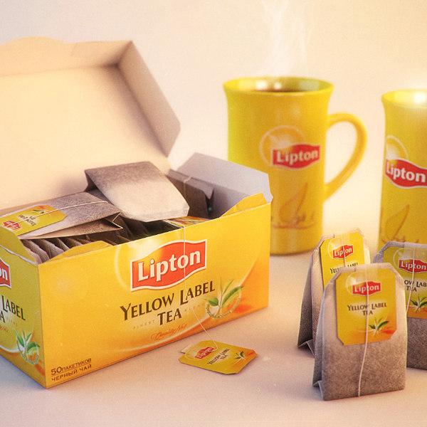 3d model of lipton yellow label tea