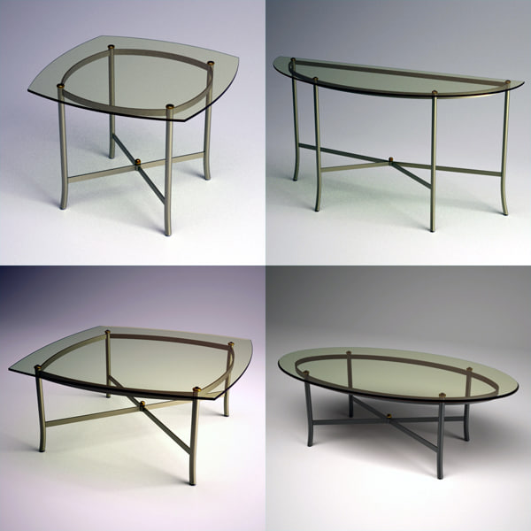 3d metal glass occasional table