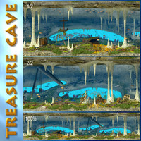3d underwater cave treasure