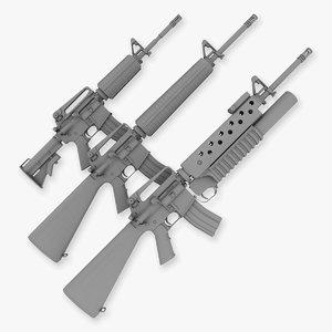 m4a1 carbine m16a2 m203 obj