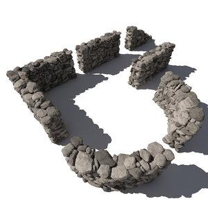 obj stone wall - rocks