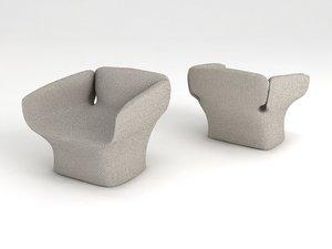 bloomy armchair chair lounge 3d model