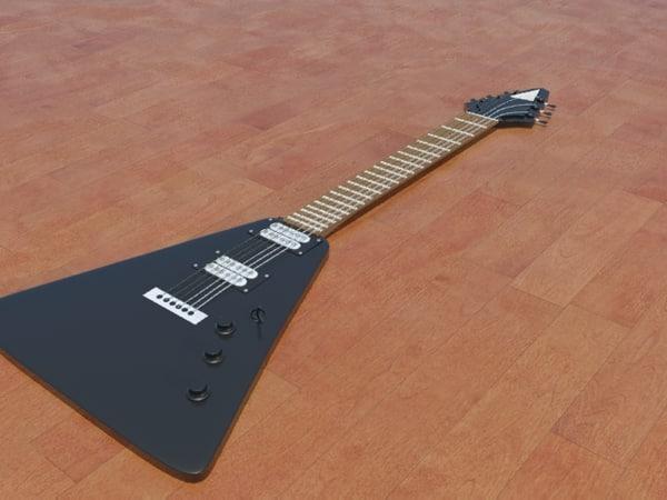 3d model of modern guitar