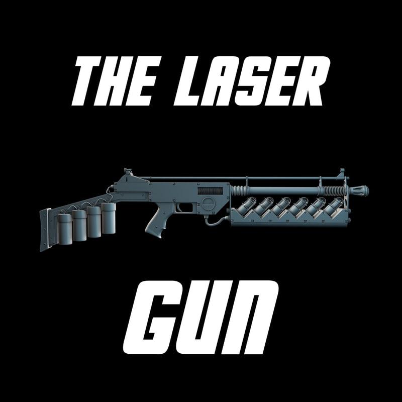 3d model bio laser gun rifle