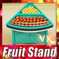 3d model fruits stand apples oranges