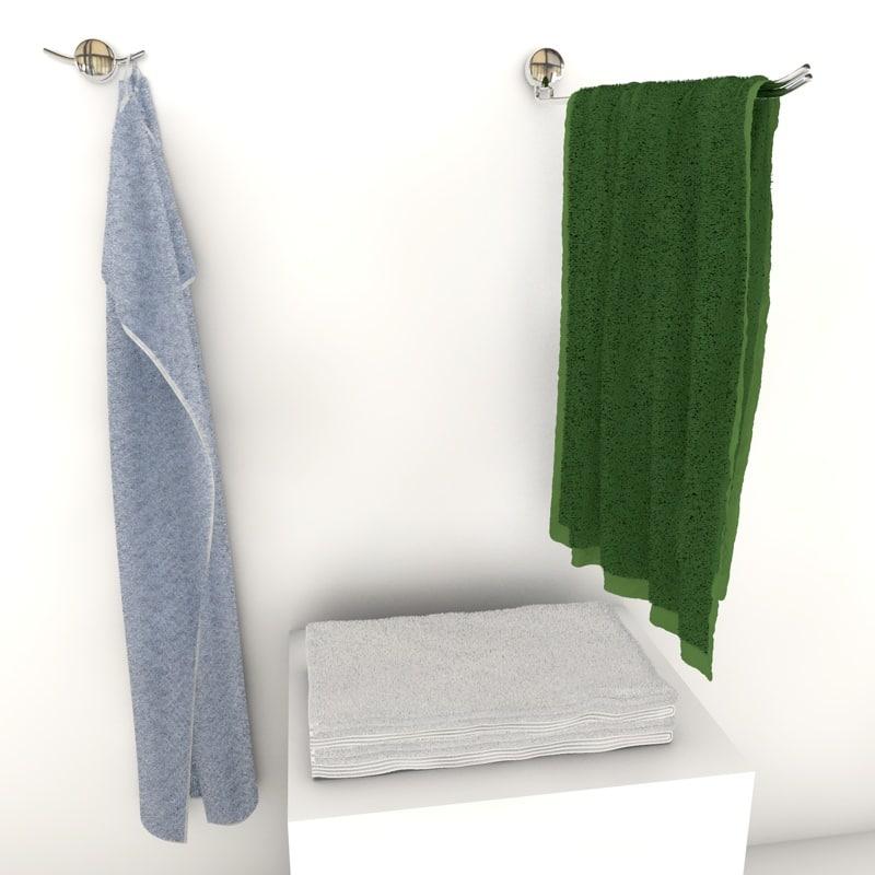 3d model towels hangers hanging