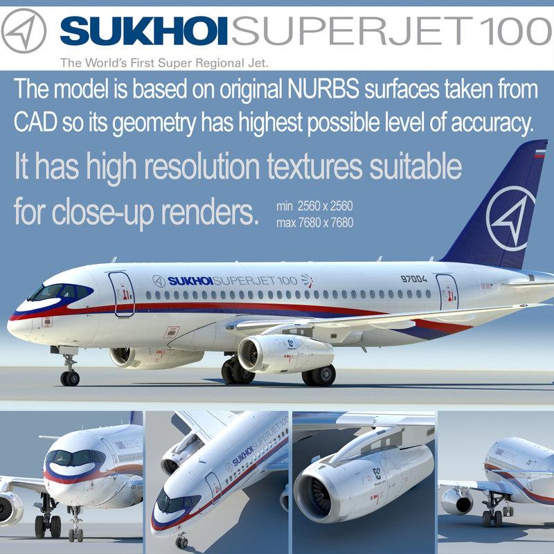 3d sukhoi 100 jet