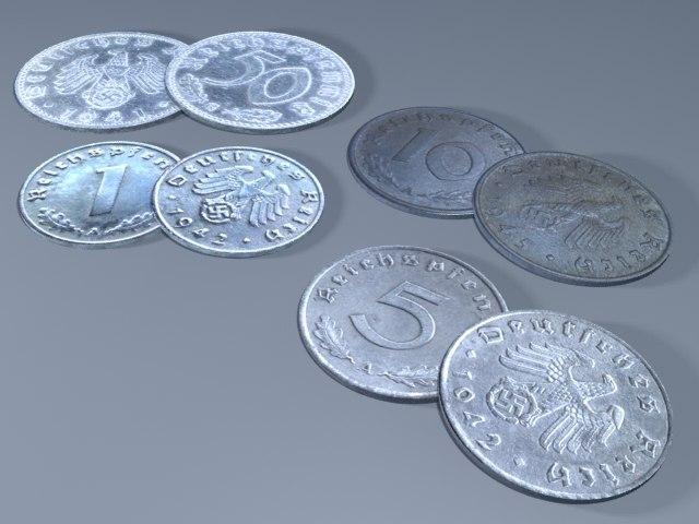 3d model reichspfennigs coins