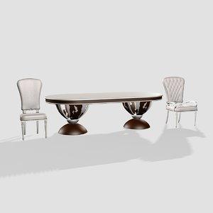 merloni table chair 3d 3ds